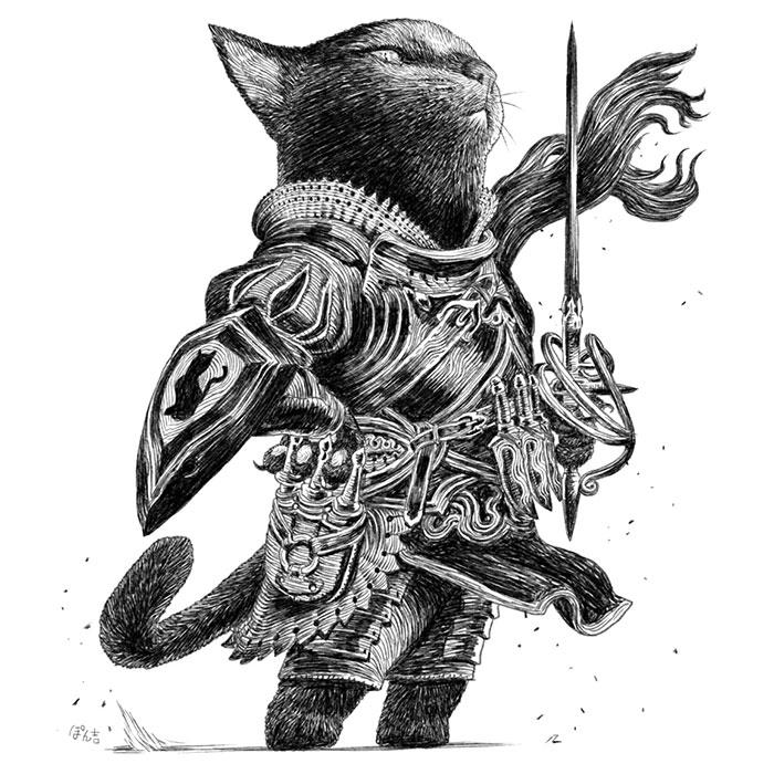 Dog-Cat-Knights-Art-Ponkichi