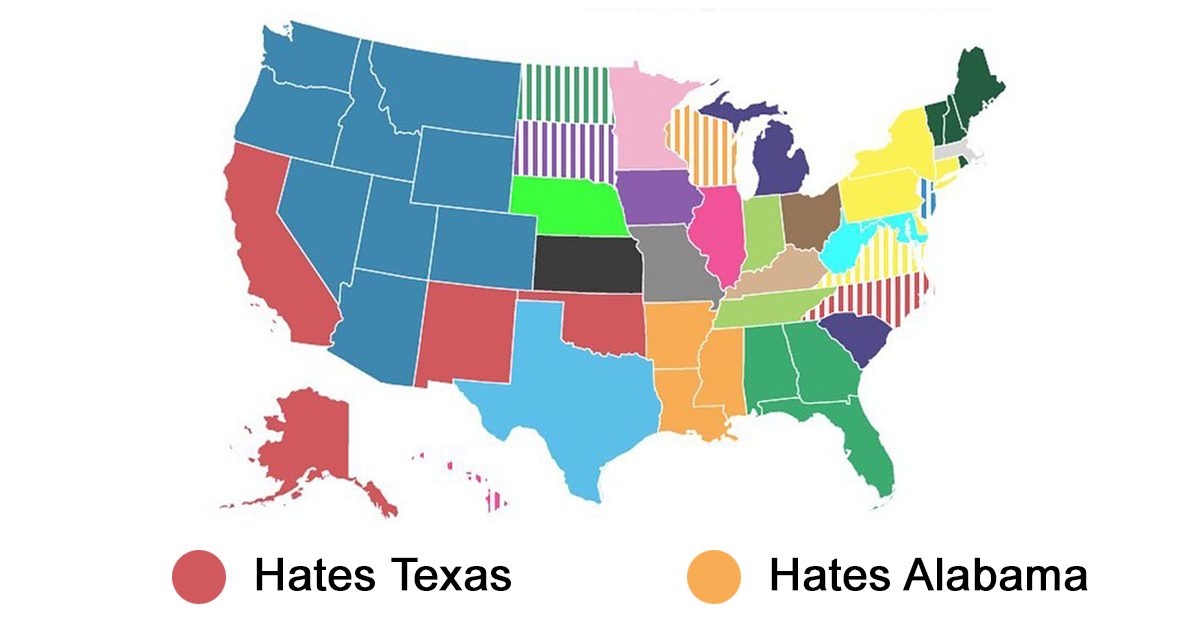 Guy Surveys Americans On Which State They Hate The Most, Puts The Results In A Map