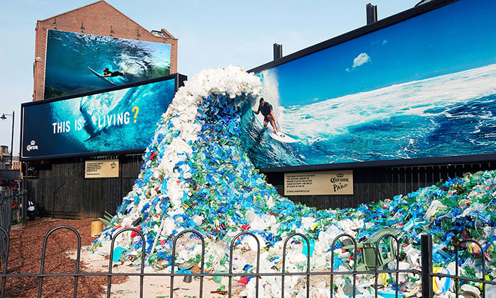 Corona Oceans Week Billboard With Wave Made From Plastic Gathered In UK And Chris Hemsworth On The Surfboard