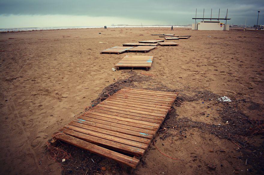 The Wooden Boardwalk Blown Away