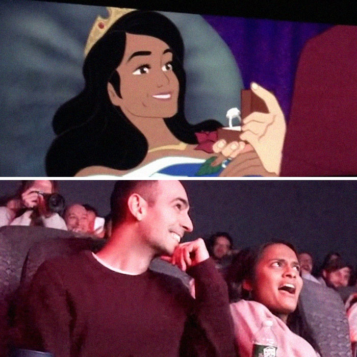 """Man Secretly 'Hacks' His Girlfriend's Favorite Disney Movie To Include A Proposal In A """"Crowded"""" Movie Theater"""