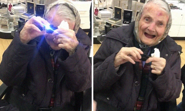 """Here's My 89 Year Old Grandmother And Her """"Camera"""" She Is Also A Mini Find As She Is She Is 4ft 5 Inches In Height"""