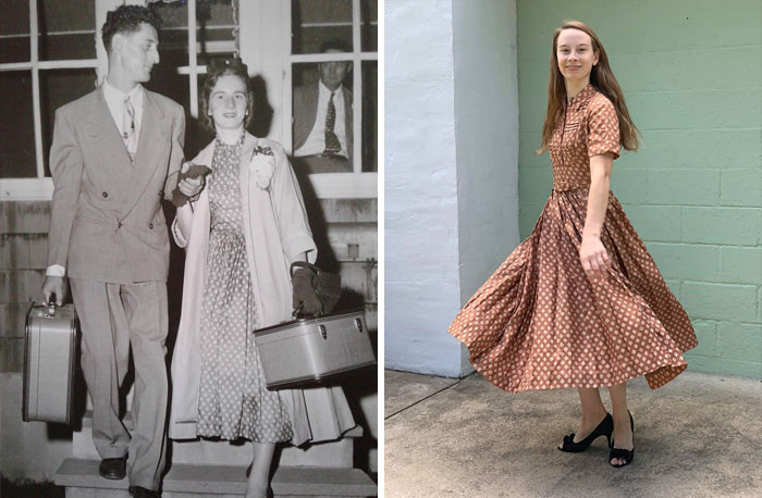 My Mother And Father Were Married In September Of 1954. She Was A Seamstress And Made Her Own Honeymoon Dress (First Picture)
