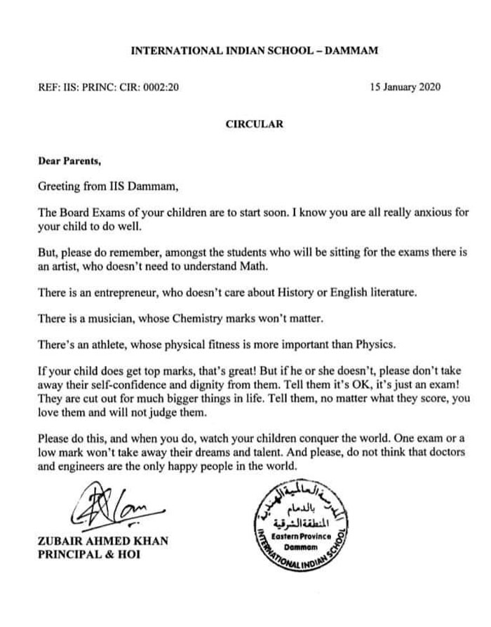 Principal Sends Letter To Students' Parents Before Exams To Remind Them That There's More To Life Than Grades