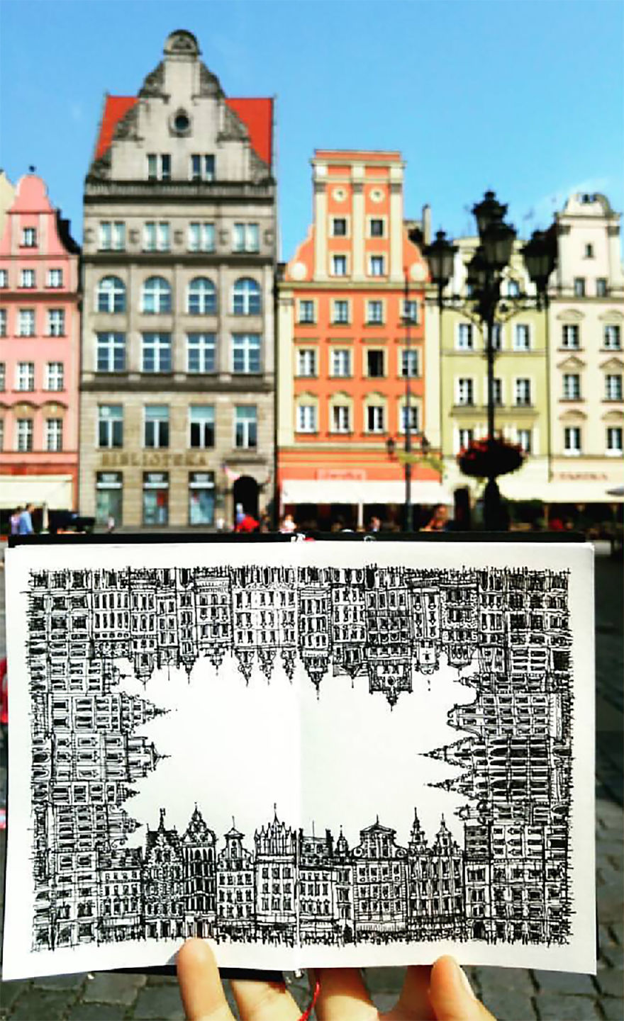 My First Trial For A 360° Drawing In The Old Town Of Wroclaw, Poland