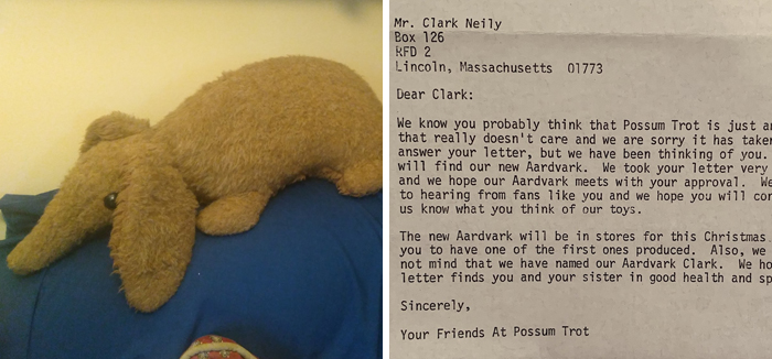 This Man Wrote To A Toy Company Asking For A Stuffed Aardvark As A Kid, The Company Delivers And Names The Plushie After Him