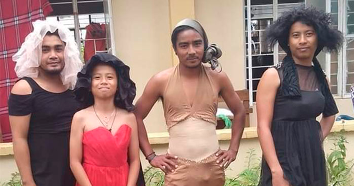 Filipino Volcano Evacuees Try To Stay Positive By Having Fun With Donated Clothes (43 Pics) - bored panda