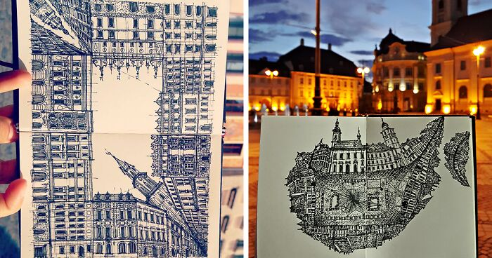 I Draw Sketches Of Landmarks From A 360 Degree Perspective (22 Pics)