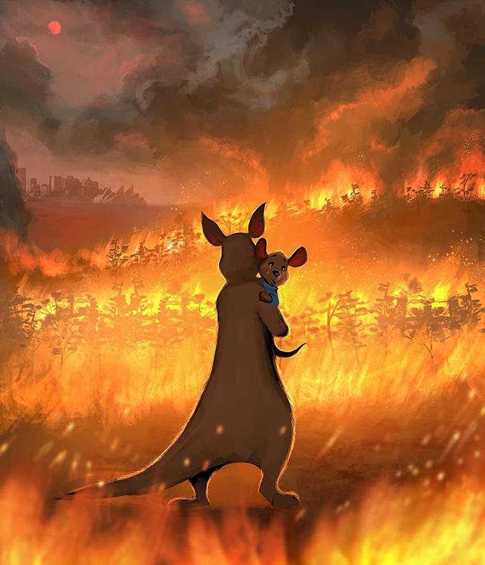 Sedih, Lukisan Tentang Kebakaran Hutan Australia
