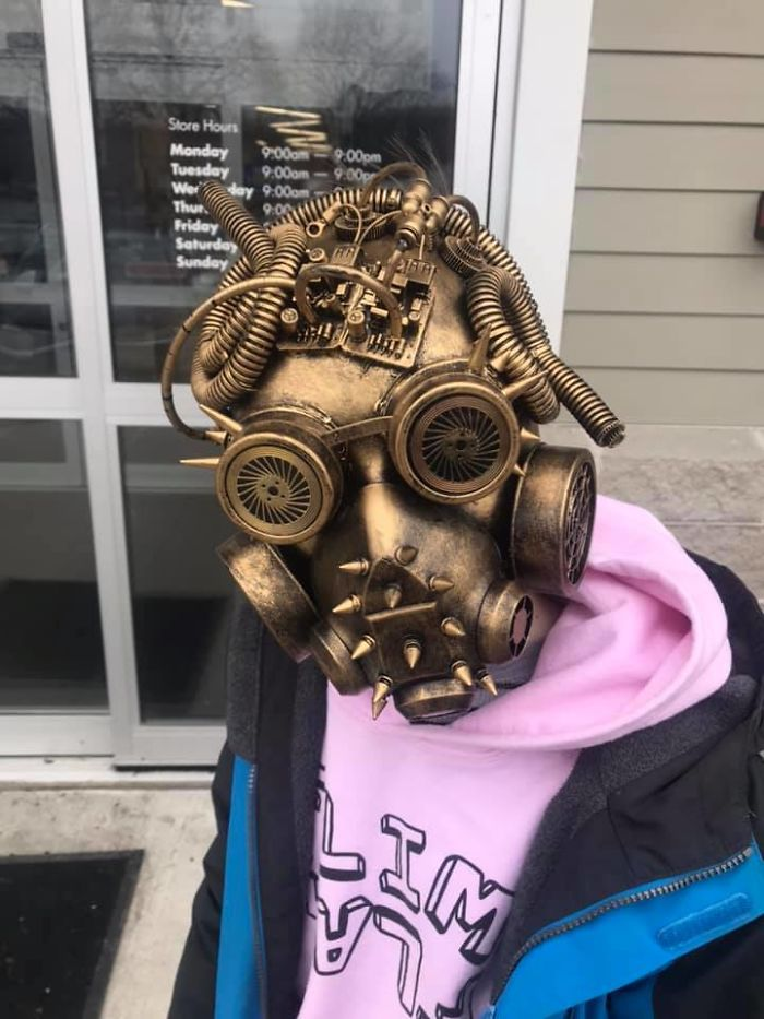 Told My Kids I Wasn't Buying Them Anything Today, But Then My Boy Found This Homemade Mask The Was Assembled And Painted From Various Parts And Painted. For $4 I Folded