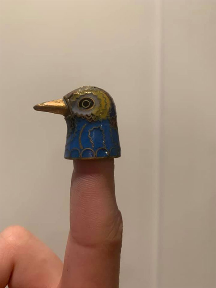 I Found This Little Birb Thimble At An Antique Store In Gatlinburg And Fell In Love. Now I Just Walk Around With It On My Finger And Peck At People Because I'm Clearly An Adult That Has Their Priorities Straight