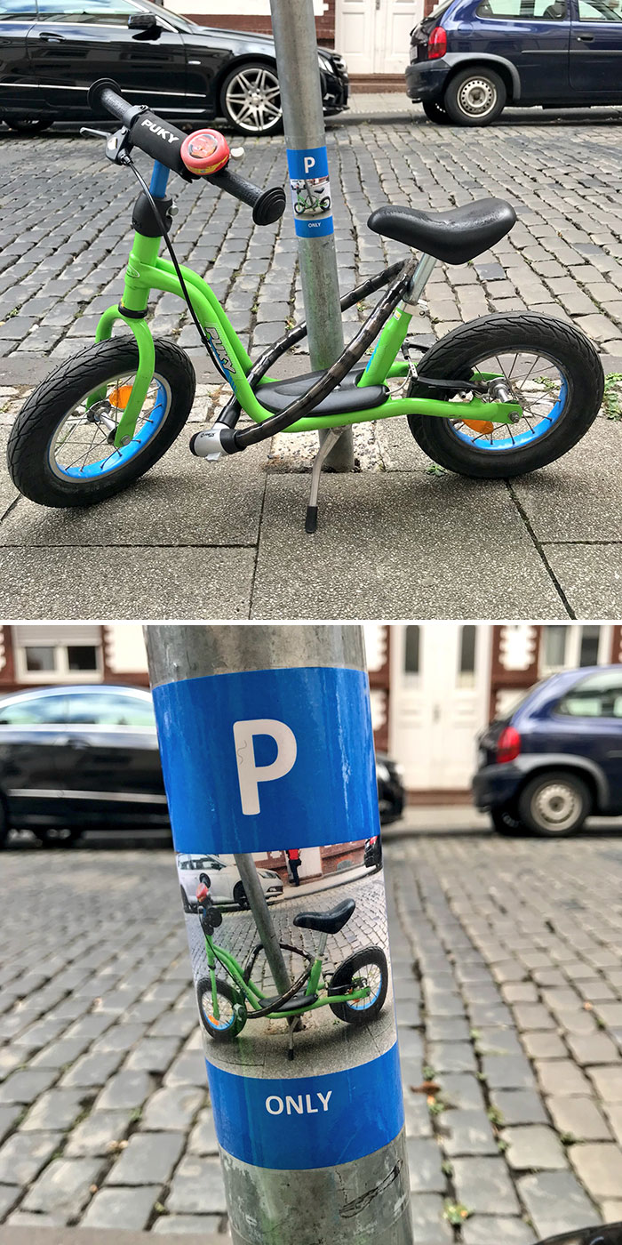 My Son Has Parked His Bike By This Lamppost Just About Every Day For The Last Year. This Morning, This Sticker Had Appeared