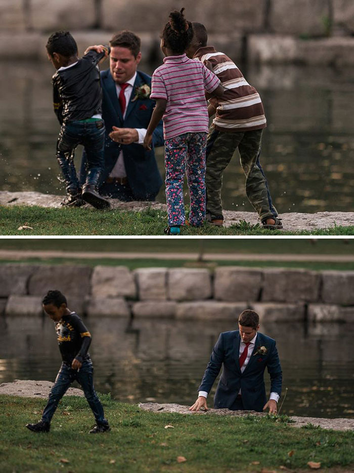 During His Wedding Photoshoot A Groom Saves A Boy From Drowning