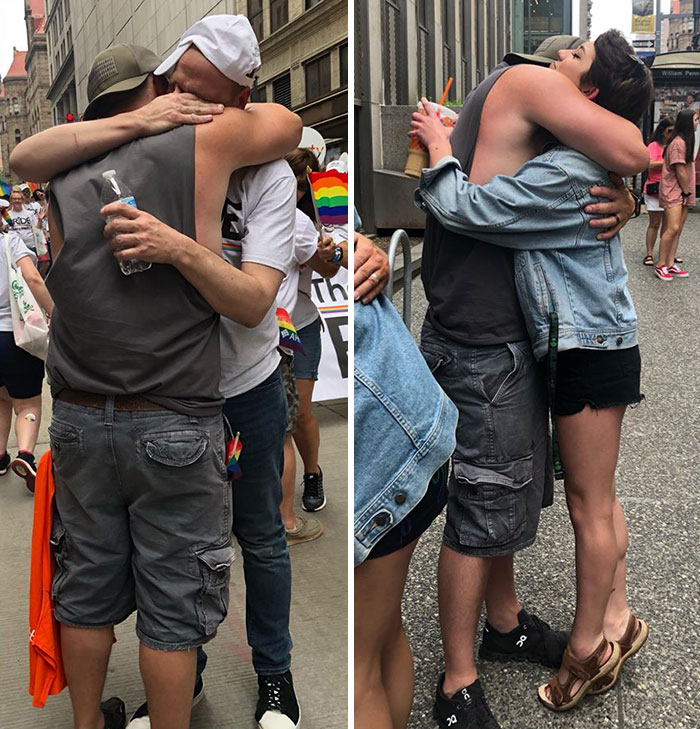 """This Man Giving Out Over 700 """"Free Dad Hugs"""" At A Pride Parade To People Rejected By Their Parents"""