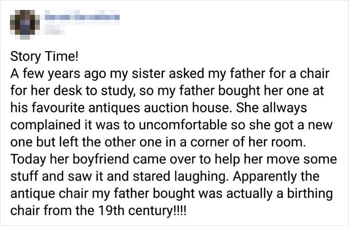 Dad Buys An Antique Chair For His Daughter, 2 Years Later Her Boyfriend Tells Her It's Actually A Birthing Chair