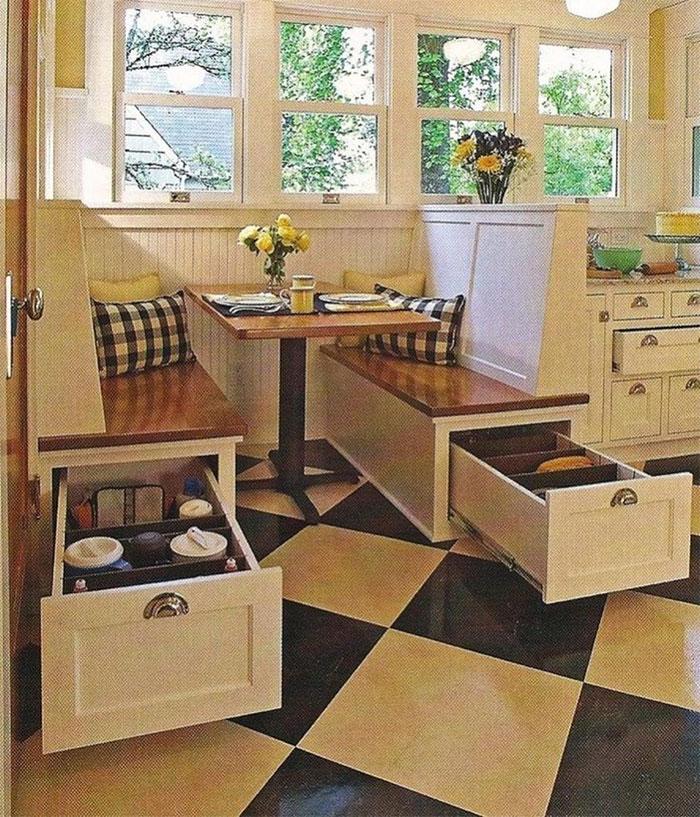 Extra Storage Hidden In These Kitchen Benches