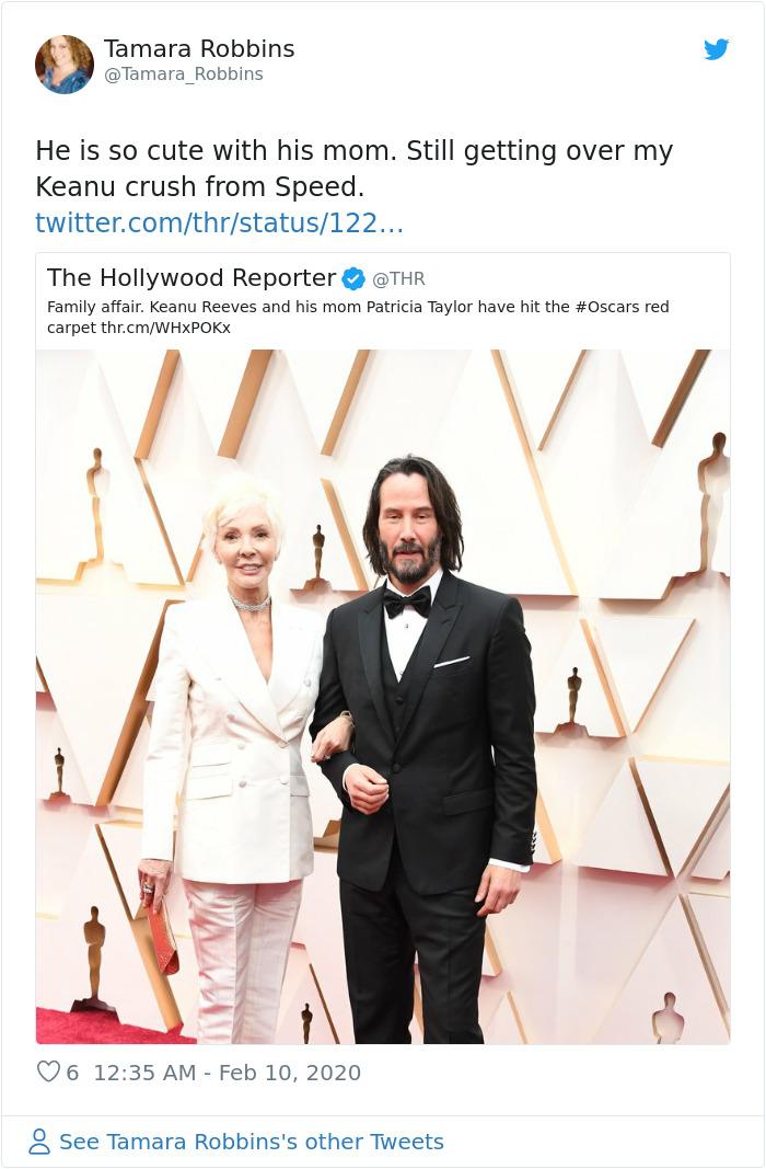 1226665971521380352 png  700 - Keanu Reeves levou sua mãe, Patricia Taylor, ao Oscar como sua acompanhante e rouba a cena!