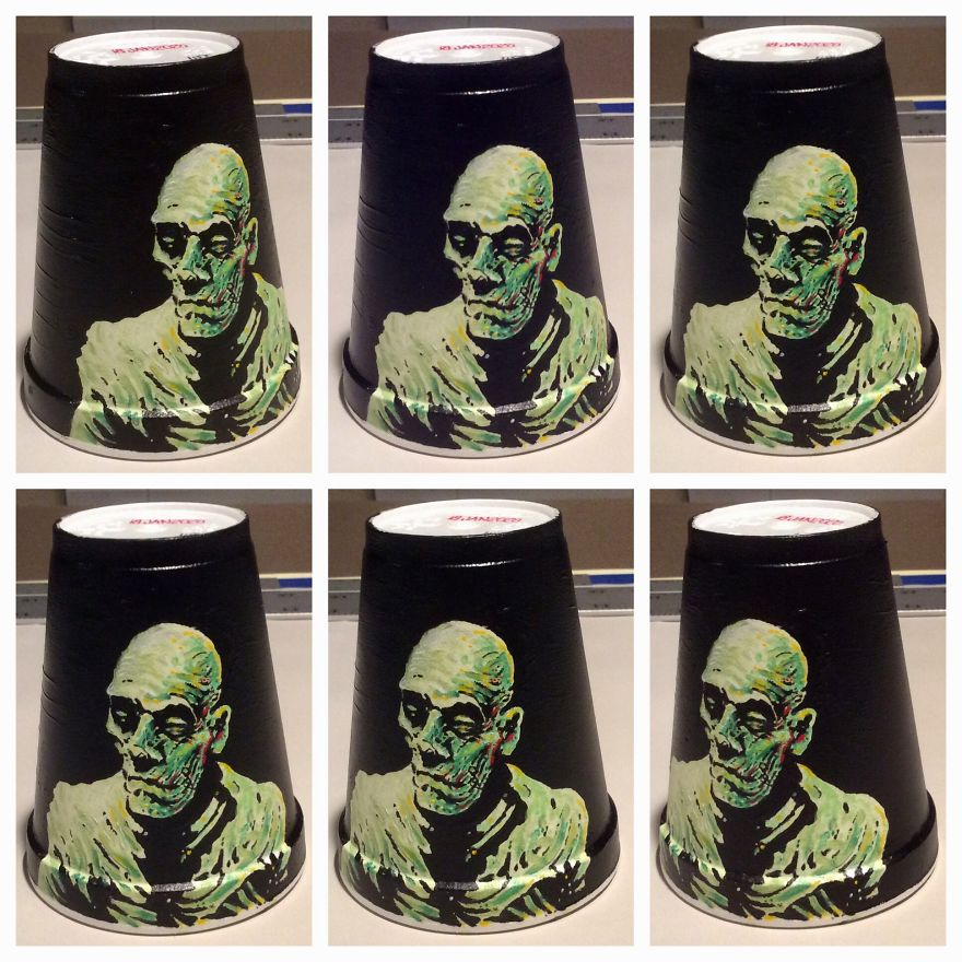 New Acrylic Drawings On Styrofoam Cups (Cont.)