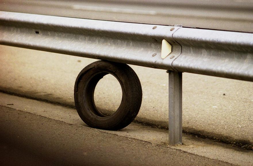 Tire And Guardrail, North Carolina