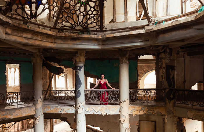 Model Poses Within The War Torn Abandoned Ruins Of Lebanon