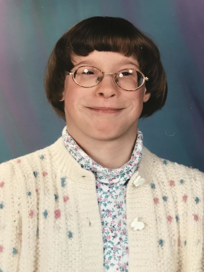 School Photo Looking Like 60-Year Old Librarian With My Cardigan, Turtleneck And Thick Glasses Date And Age Unknown