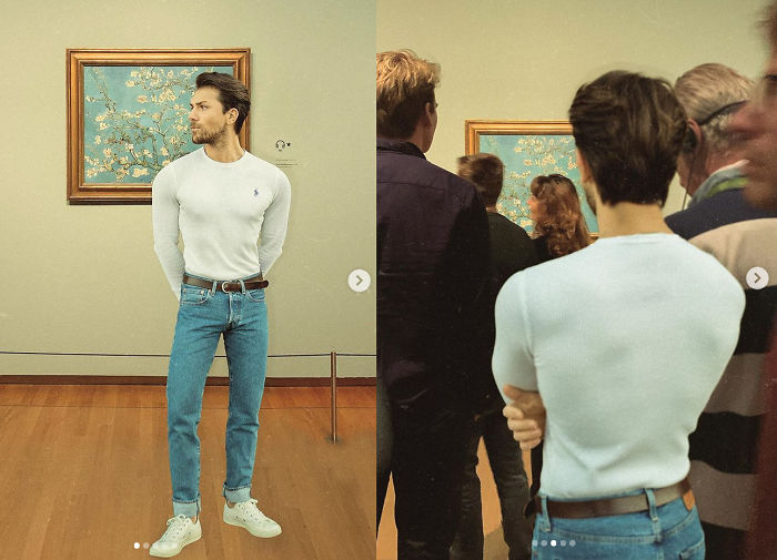 He Likes Museum Enough To Photoshop Him In It But Not Enough To Be Really There ( I Think His Body Is Also Edited To Make Waist Smaller... But Not Sure)