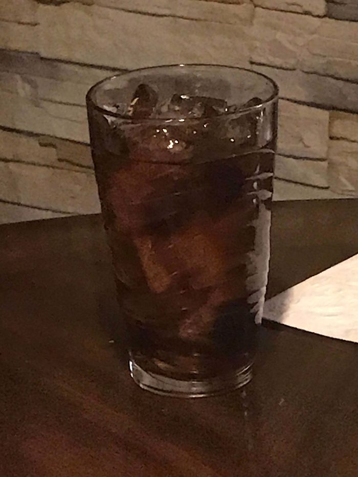 The Ice In My Glass Sort Of Looks Like A Face