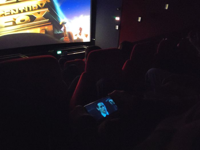 This Guy Is Watching Netflix In The Cinema Without Headphones