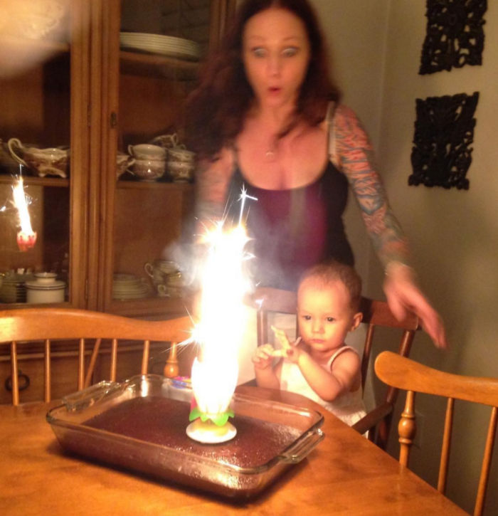 My Baby's First Birthday. We Had No Idea There Was A Sparkler In The Candle