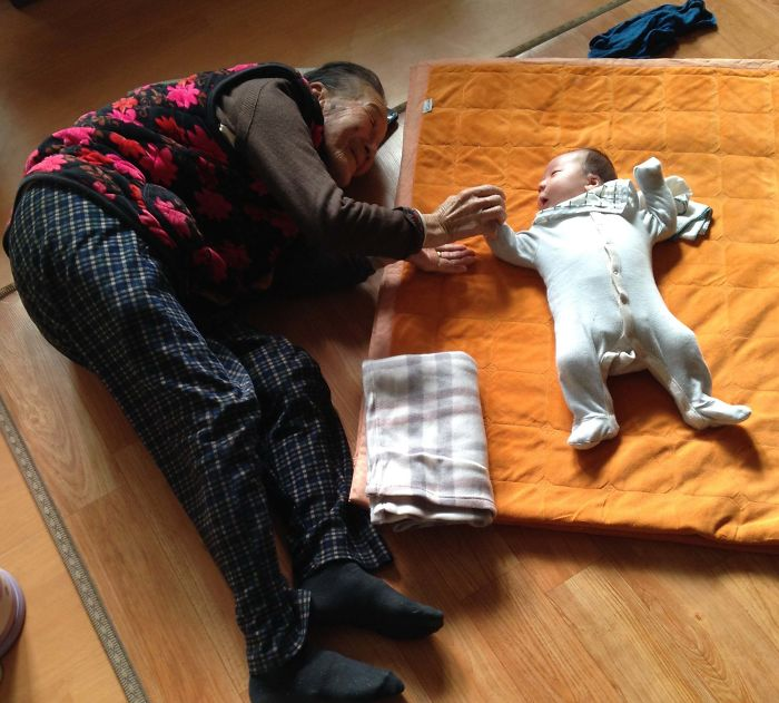 My Son At One Month Old And His 97-Year-Old Korean Great Grandmother
