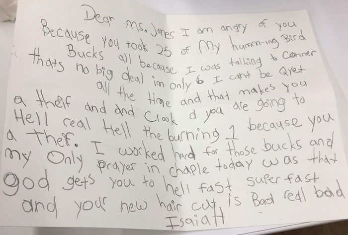 Mom Gets Called Into Parent-Teacher Conference After Her Son Writes An Angry Letter To Teacher For Disciplining Him