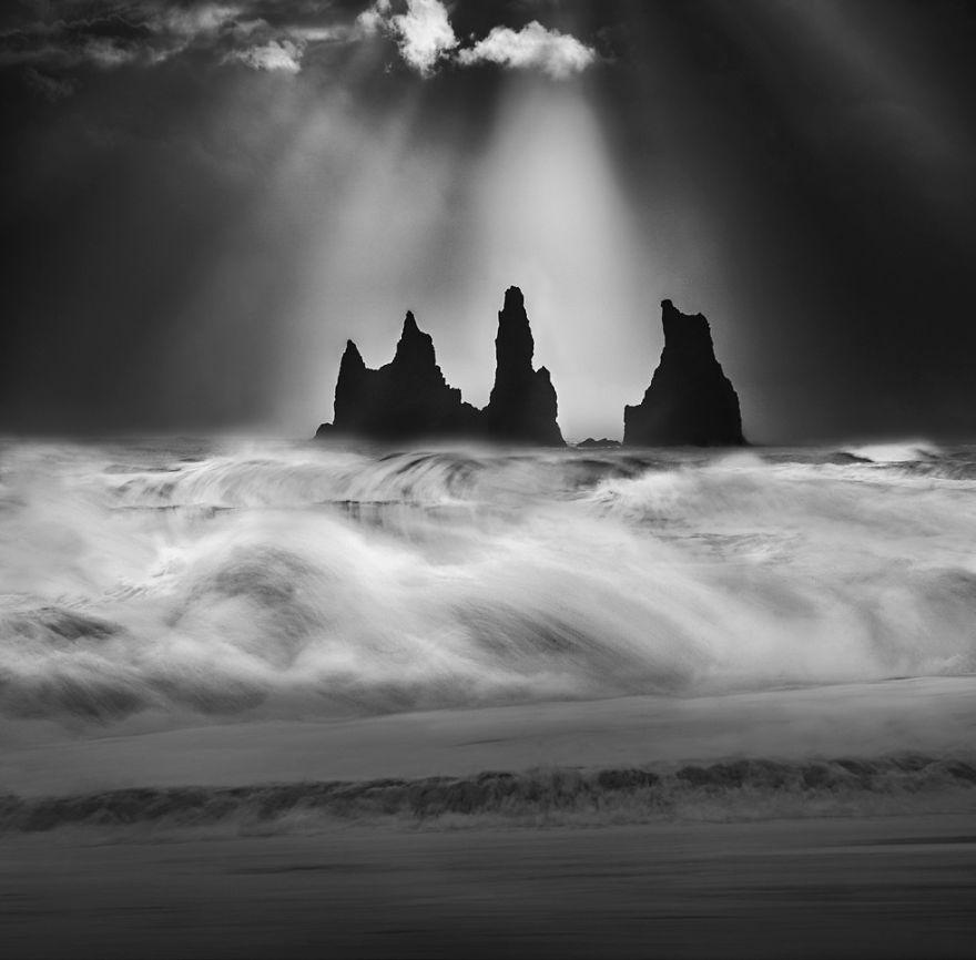 Reyinisdrangar Rocks, Iceland By Peter Svoboda