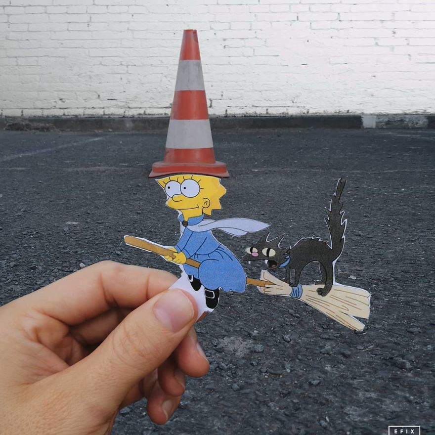 Artist Manages To Take The Boredom Out Of Common Spaces With Pop Culture Characters, Who Fit Perfectly With The Scene