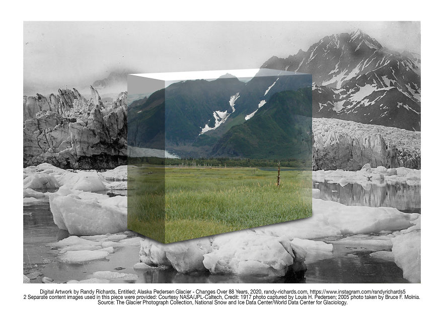 Alaskan Pedersen Glacier - Changes Over 88 Years: Then & Now