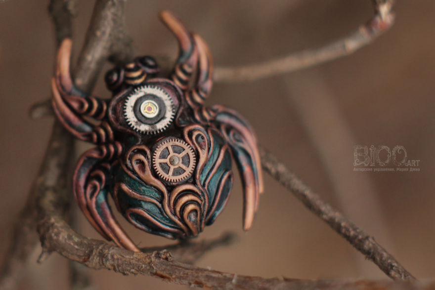 Steampunk Spiders Made Of Polymer Clay