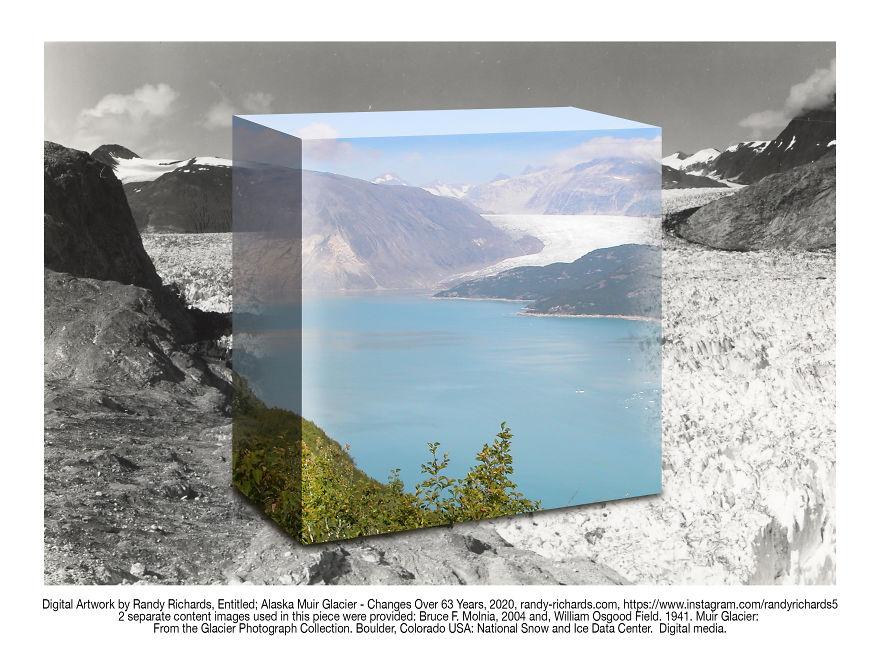 Alaskan Muir Glacier - Changes Over 63 Years: Then & Now