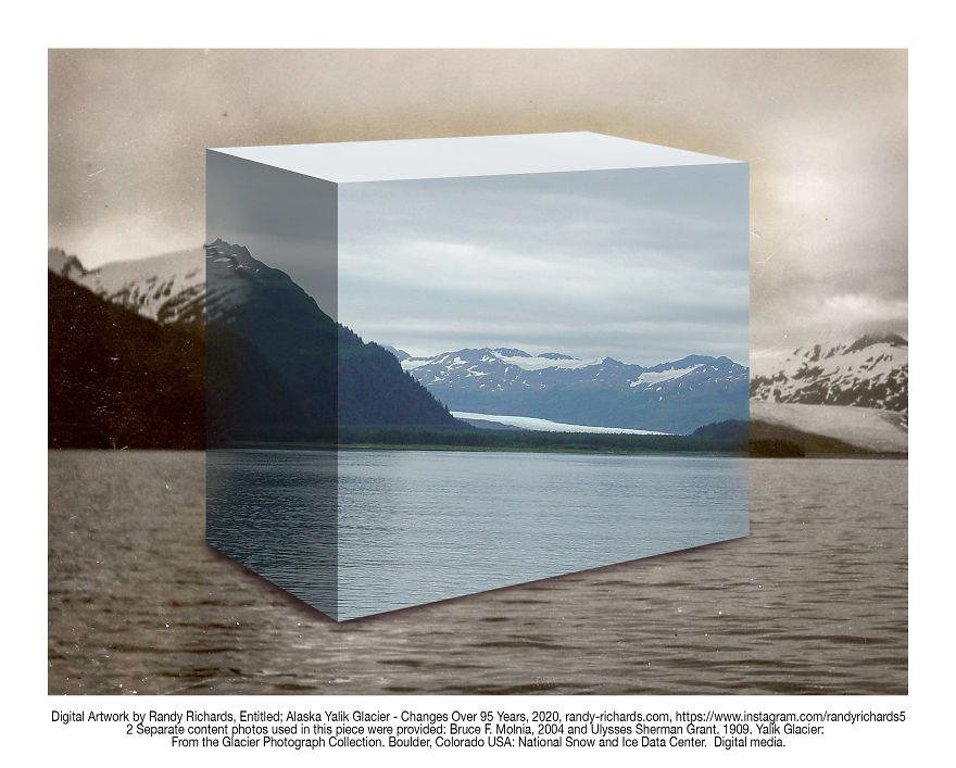 Alaska Yalik Glacier - Changes Over 95 Years: Then & Now