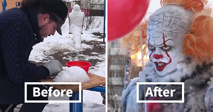 This Artist Decided To Creep People Out By Creating A 'Pennyswise' Snowman On A Swingset