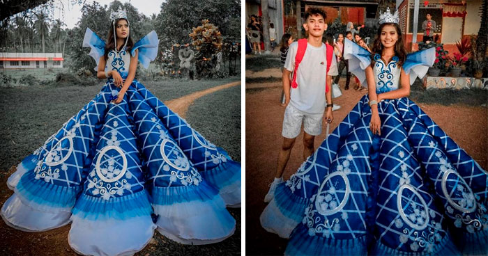 Parents Can't Afford To Rent A Gown For Girl's Prom, Brother Steps Up And Makes Her One Instead