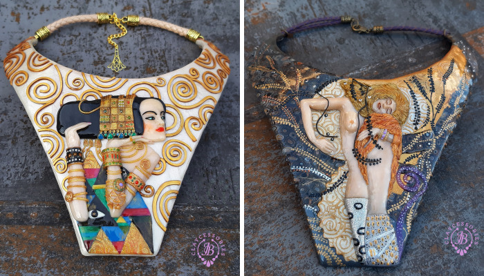 My Polymer Clay Art Necklaces Inspired By Gustav Klimt's Paintings