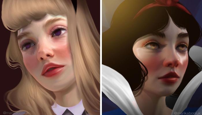 Artist Makes Digital Portraits Of 8 Disney Princesses In His Style
