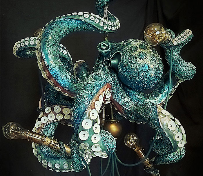 I Handcrafted An Octopus Chandelier And Here's The Creation Process (13 Pics)