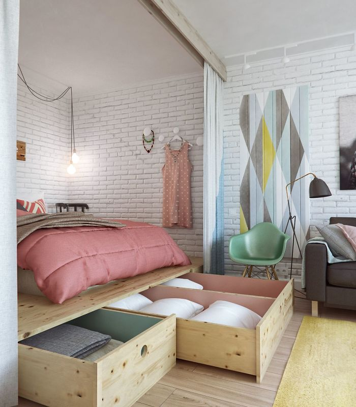 Elevate The Bed In Small Spaces To Create Storage Underneath