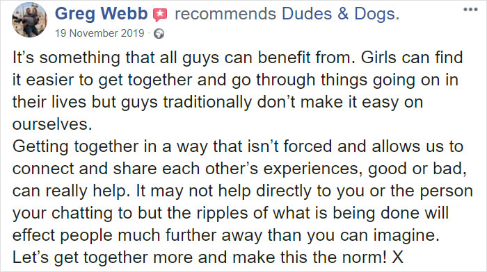Guy Sets Up A Dog-Walking Group For Men Who Need A Companion To Open Up About Their Problems