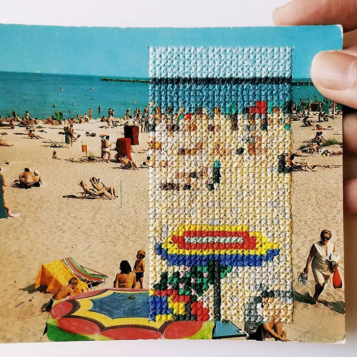 Artist Collects Vintage Photographs And Embroiders Them By Hand To Give Them New Life (82 Pics)
