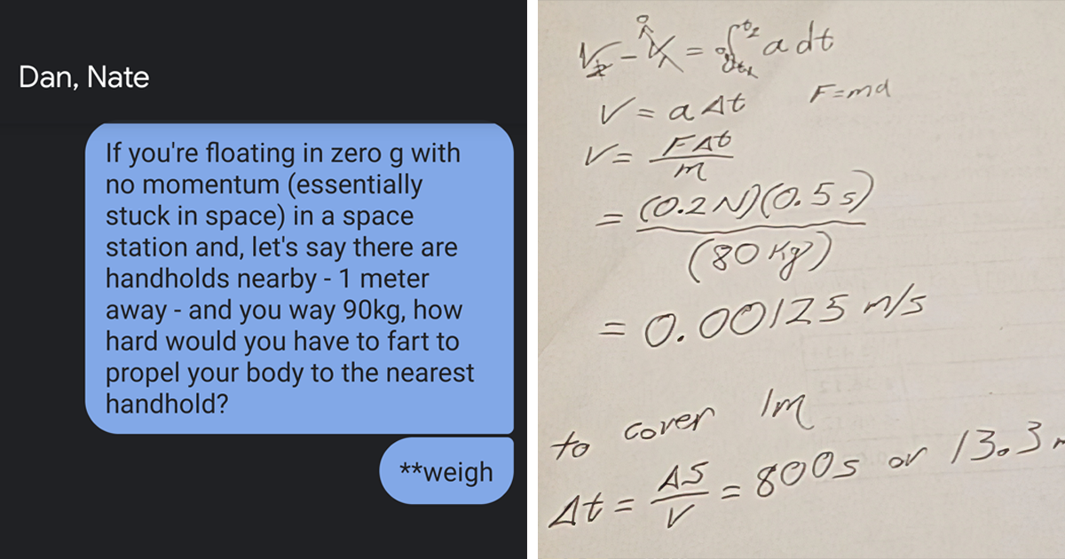 Two Guys Do The Math On Whether A Fart Can Propel A Person In Zero G - bored panda