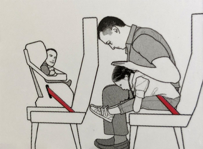 Flight Safety Illustrations Drawn By Someone Who Probably Doesn't Know How Kids Look