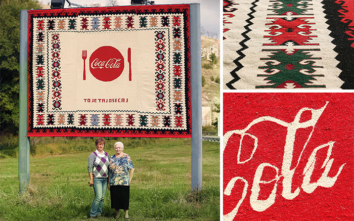 Coca-Cola Hand Knitted Billboards In Serbia Using Traditional Knitting Techniques