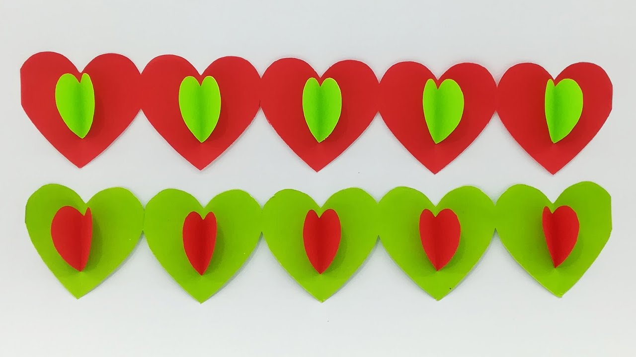 How To Make 3D Paper Heart Wall Hanging