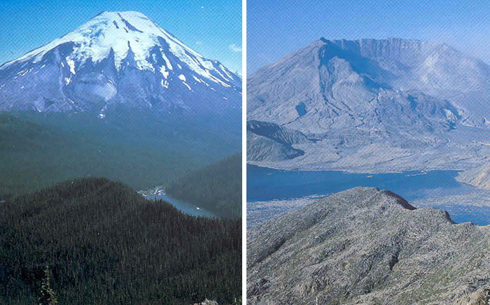 Mountain St Helens Before And After Its 1980 Eruption